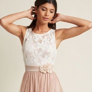 Tiered Tulle Lace Dress Sequin Polkadot A-…